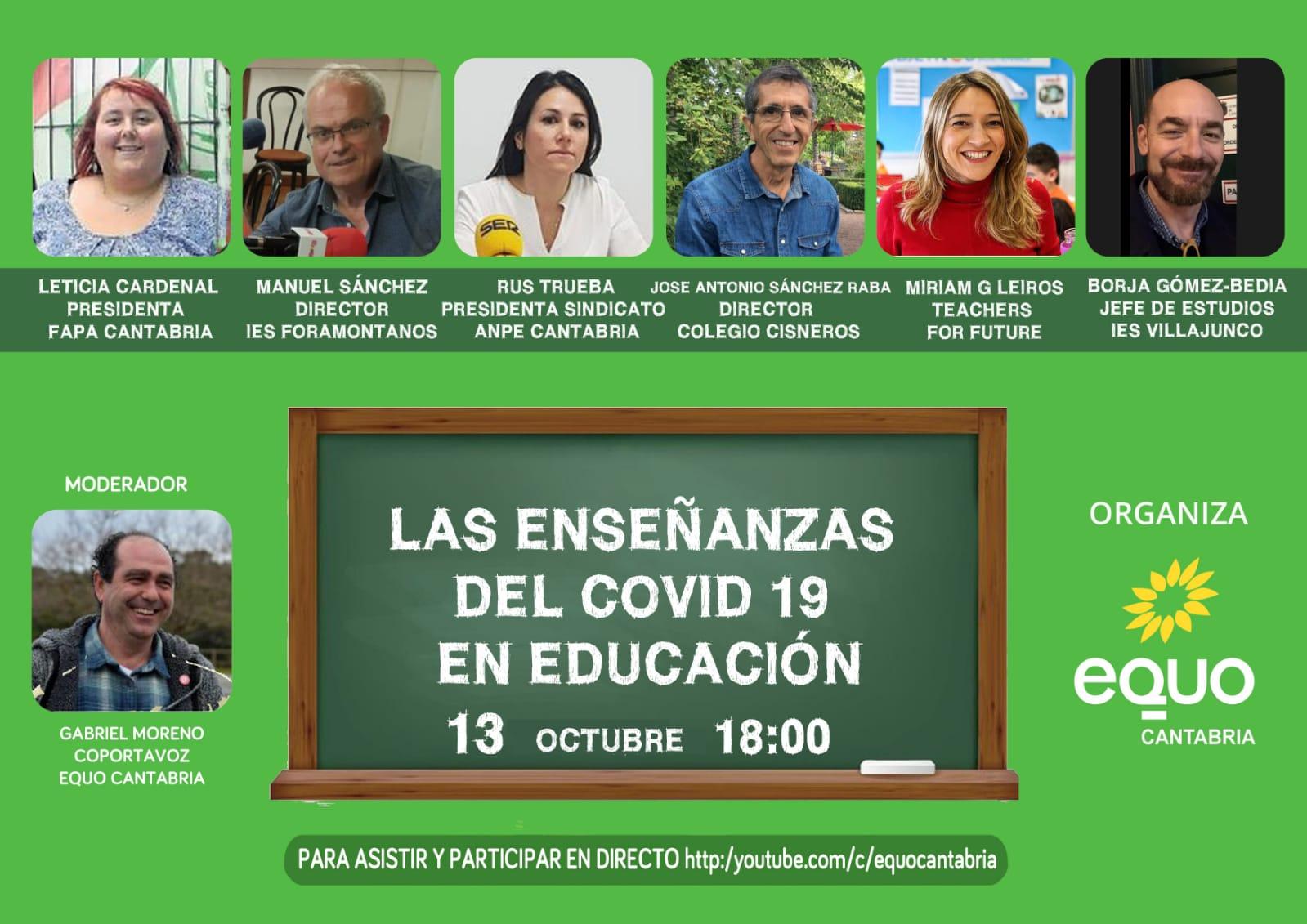 Cartel 5º webinar de EQUO Cantabria