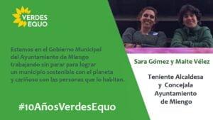 Imagen de Maite y Sara en el ayuntamiento de Miengo